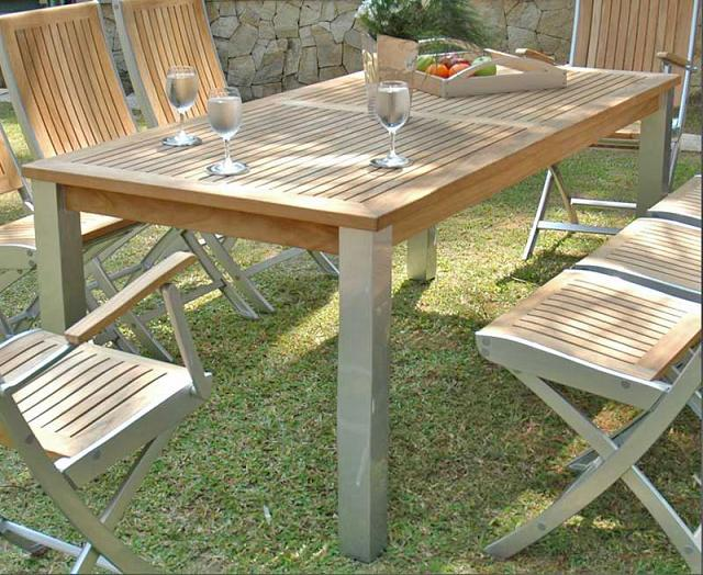 Rectangular Table - Teak & Alloy - Mezzo Collection