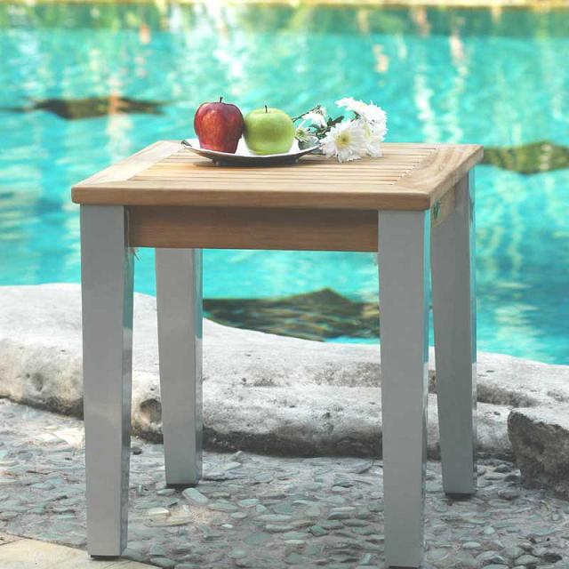 Side Table - Teak & Alloy - Mezzo Collection
