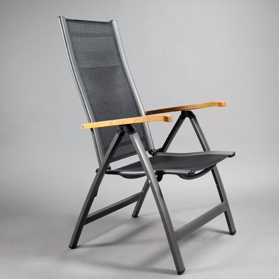 Aluminum & Sling Recliner with Teak Wood Arms