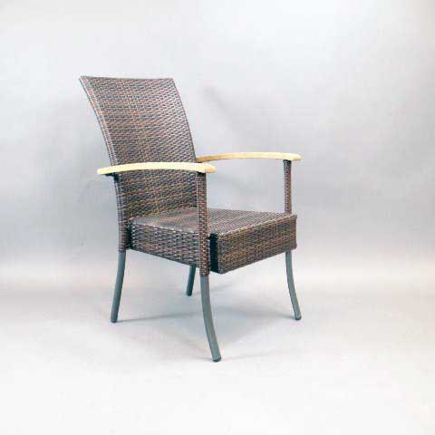 Aluminum & Wicker Chair with Teak Wood Arms
