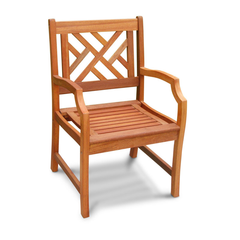 Outdoor Wood Arm Chair Patterned Back
