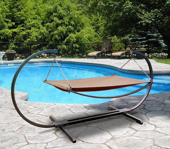 Outdoor Steel Stand & Polyester Hammock Bed Set