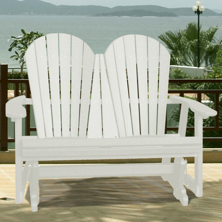 V1223 Outdoor Recycled Plastic Adirondack Glider Bench