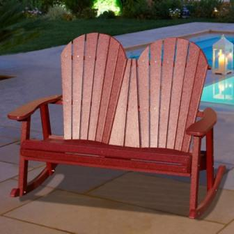 V1225 Outdoor Recycled Plastic Adirondack Rocker Bench