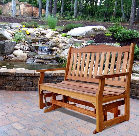 V1237E Outdoor Wood Glider Bench