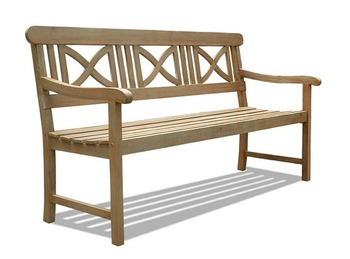 V1299 Renaissance Outdoor Hand-scraped Hardwood Bench
