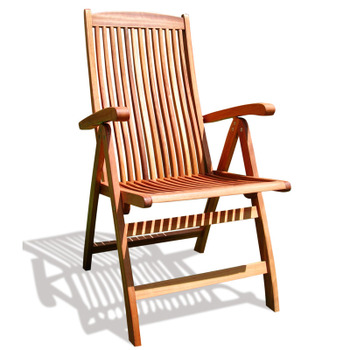Outdoor Wood Folding Arm Chair with Multiple-Position Reclining Back
