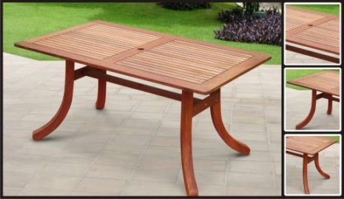Outdoor Wood Rectangular Table with Curvy Legs