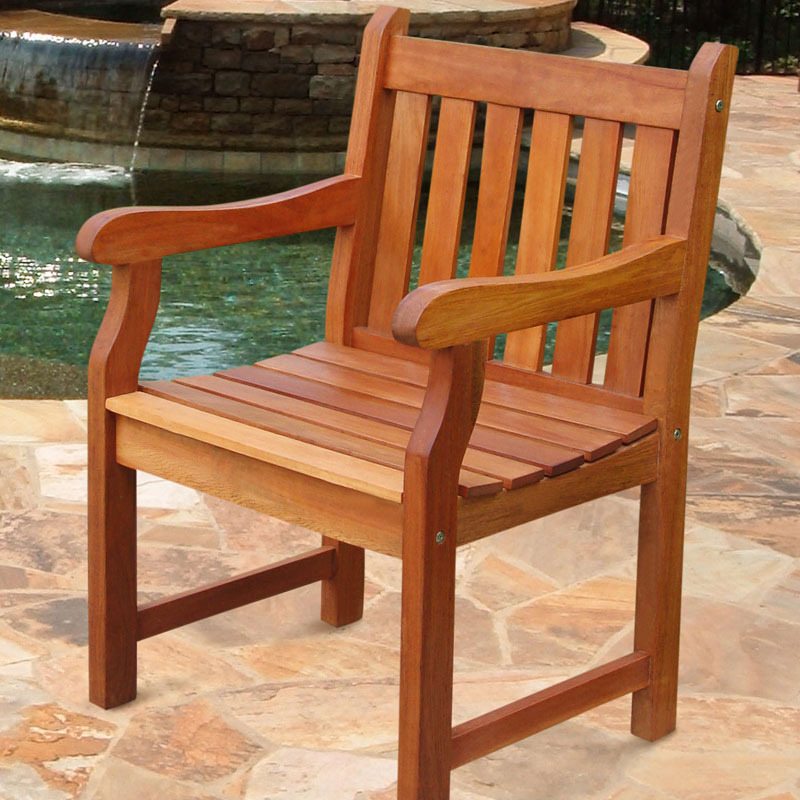 V209 Outdoor Wood Arm Chair Slatted Back