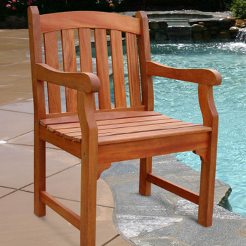V211 Outdoor Wood Arm Chair Slatted Back